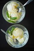 Two of vanilla ice cream, top view — Stock Photo