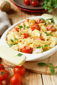 Penne pasta with sun-dried tomatoes — Stock Photo