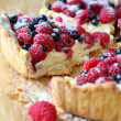 Summer berry tart with cream — Stock Photo