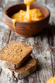 ломтика черного хлеба и меда в глиняной миски — Стоковое фото