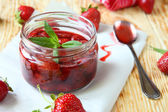 Home-canned - strawberry jam — Stock Photo