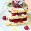 Millefeuille with fresh raspberries and honey — Stock Photo