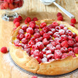 Tart with raspberries and powdered sugar — Stock Photo