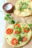 Pita with tomatoes and cheese, focaccia — Stock Photo