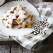 Christmas gingerbread cookies and snowflake — Stock Photo #31174633