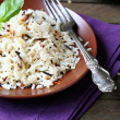 Boiled long rice on a plate — Stock Photo