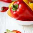 Fresh pepper in a white bowl — Stock Photo #31890835