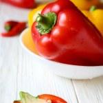 Fresh pepper in a white bowl — Stock Photo