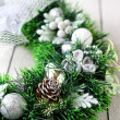 Christmas wreath in white tones — Stock Photo