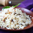 Cooked long grain rice on a platter — Stock Photo