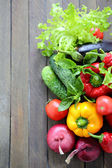 Harvest of fresh greens and vegetables — Stock Photo