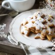 Ginger shortbread biscuits on plate, Christmas parties — Stock Photo #33187799