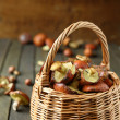 Fresh mushrooms gathered in the forest in a basket — Stock Photo