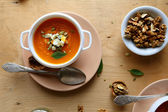 Delicious pumpkin cream soup with cheese — Foto Stock