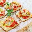 Pizza with bell peppers and onions leek — Stock Photo