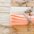 Cotton kitchen towels tied with twine — Stock Photo