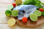 Two fresh sea bream fish on board — Stock Photo