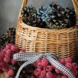 Christmas decorations in basket — Stock Photo #34711339