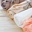 Stock Photo: Organic textiles for kitchen on table