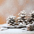 Christmas background with pine cones, decorations — Stok fotoğraf