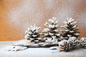 Christmas background with pine cones, decorations — Stock Photo