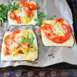 Mini pizza with peppers and cheese — Foto Stock