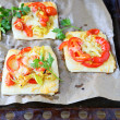 Mini pizza with peppers and cheese — Stok fotoğraf