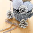 New Year decorations in a wicker bucket — Stock Photo