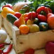 Stock Photo: Vegetable crops in drawer
