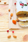 Winter dainty fragrant stollen — Stock Photo
