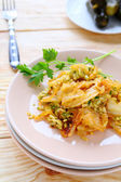 Risotto with slices of braised cabbage — Stock Photo
