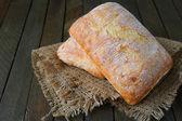 Two freshly baked ciabatta — Stock Photo