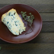 Piece of blue cheese on a plate — Foto Stock