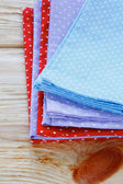 Stack of towels with polka dots — Stock Photo