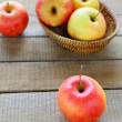 Fresh red and yellow apples — Stock Photo