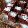 Brownie slices with cranberries — Stock Photo