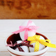 Easter eggs decorated with ribbons — Stock Photo #39493179
