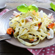 Tasty pasta with assorted seafood — Stok fotoğraf