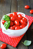 Fresh cherry tomatoes in a tureen — Stock Photo