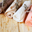 Colored cotton towels for the kitchen — Stock Photo #39626799