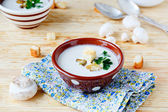 Soup with field mushrooms and cream — Stock Photo