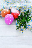 Easter eggs on a white table — Stock Photo