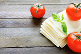 Uncooked lasagna sheets — Stock Photo
