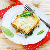 Lasagna with spinach and mushroom stuffing — Stock Photo