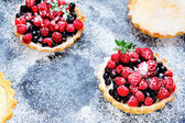 Homemade tartlets with berries — Stock Photo