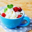 Cottage cheese with fresh raspberries — Stock Photo