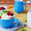 Cottage cheese with berries and milk in a bottle — Stock Photo #41538257