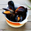 Mussels cooked in a saucepan — Stock Photo