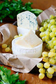 Goat cheese, parmesan, brie and Camembert with Grapes — Stok fotoğraf