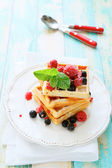 Crispy waffles and fresh berries — Stock Photo